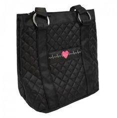 EKG Bag Best Work Bag, Medical Bag, Medical Assistant, Nurse Bag, Summer Tote Bags, Work Handbag, Black Leather Tote Bag, Heart Logo, Work Bags