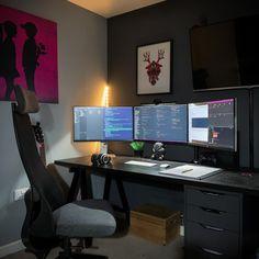 Pc Setup, Desk Setup, Macbook Pro Setup, Home Studio Desk, Build A Pc, Computer Setup, Gaming Setup, Bedroom Setup, Home Office Setup