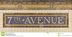 subway n.y. mosaic sign | Mosaic of the Seventh Avenue Station Subway Sign, Brooklyn, New York.