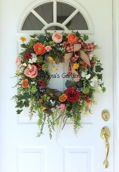 Your place to buy and sell all things handmade Spring Front Door Wreaths, Holiday Wreaths, Painting Metal Doors, Outside House Colors, Front Door Decor, Front Doors, Country Wreaths, Floral Wreaths, Baskets On Wall