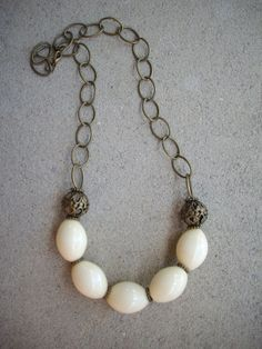 Chunky Vintage Ivory Oval Bead Necklace with by DesignsbyPattiLynn, $45.00
