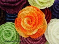 flor de croche em espiral