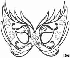 Printable Carnival Masks   Elegant mask for Carnival party coloring page