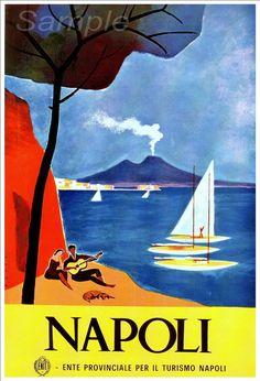 Stampa del manifesto del viaggio vintage Napoli Italia