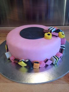 Liquorice allsort cake Fondant Cakes, Cupcake Cakes, Cupcakes, Adult Birthday Cakes, 50th Birthday, Liquorice Allsorts, Cookie Icing, Novelty Cakes, Occasion Cakes