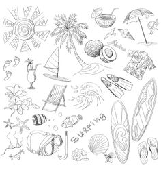 surfing hand draw doodles, various summer, excellent vector illustration, EPS 10 Doodle Images, Doodle Designs, Doodle Art, Tattoo Designs, Tattoo Ideas, Surf Drawing, Beach Drawing, Summer Drawings, Quiet Book Templates