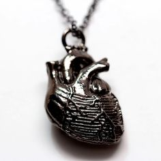 Anatomical Heart Necklace Black