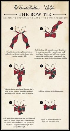 How to tie a bow tie infographic.  Animated How to video