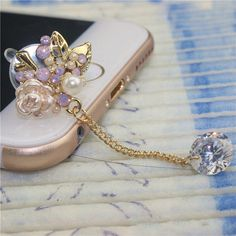 Hot sale fashion mobile phone accessories small flower 3.5mm dust plug ear plugs //Price: $7.95     #electronic