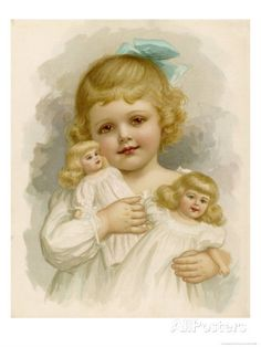 Little Girl with a Blue Ribbon in Her Hair Clutching Her Dolls by Ida Waugh