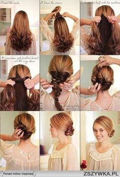 pinner said Hair Tutorial - I got more complements with this style than any other I have done. I used a headband that matched my hair and it seemed to disappear. Stayed in even during my bike commute. Fast Hairstyles, Braided Hairstyles, Simple Hairstyles, Medium Hair Styles, Short Hair Styles, Hairstyle Tutorial, Stylish Hair, Hair Photo, Hair Dos
