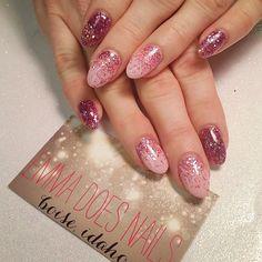 @emmadoesnails pink nails glitter nails breast cancer awareness nails almond nails round nails