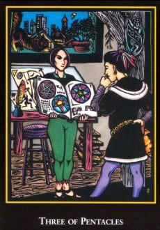 Three of Pentacles -The World Spirit Tarot deck literal True Tarot, Fortune Telling Cards, Pentacle, Oracle Cards, Tarot Decks, Deck Of Cards, Tarot Cards, A Team, Third