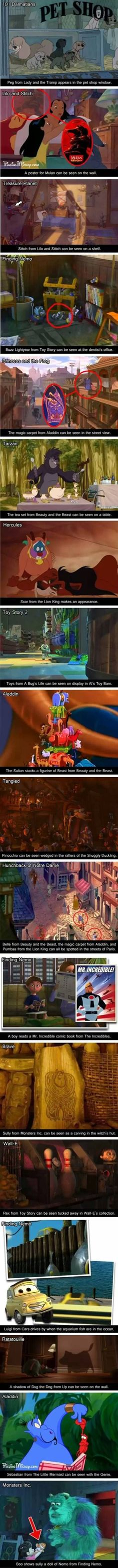 Disney characters in Disney movies that aren't their own. Disneyception.