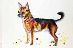 Chihuahua WatercolorPainting Chihuahua Art Print WatercolorChihuahua Dog Art Print Colorful Chihuahua animal watercolor Dog Wall Decor NO 31 - pinned by pin4etsy.com