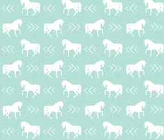 horse mint linen fabric by charlottewinter on Spoonflower - custom fabric