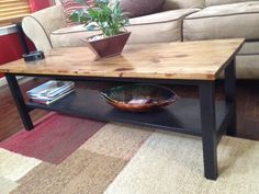 Trestle base coffee table, distressed