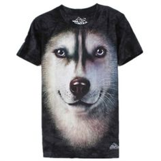 The Mountain Big Face Animals 3D T-Shirts Short Sleeves - Husky - Shipping Cap Promotion- - TopBuy.com.au