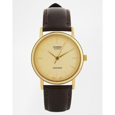 Casio Brown Leather Strap Watch MTP1095Q-9A (56 CAD) ❤ liked on Polyvore featuring men's fashion, men's jewelry, men's watches, brown, mens brown leather watches, mens stainless steel watches and casio mens watches