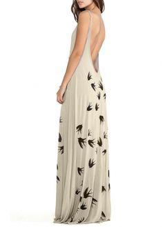 Graceful Open Back Round Neck Swallow Print Maxi Dress