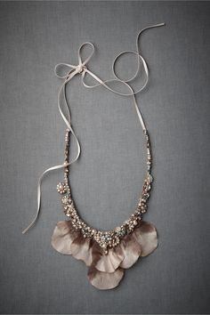 Glass Pearls, crystals, silk ribbon, organza handmade necklace from France
