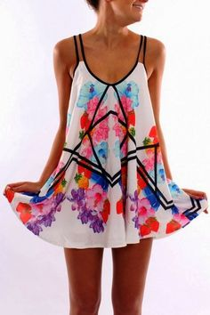 d0837dc0d628 MODE THE WORLD  Jean Jail Cute Floral Dress geometric influence with floral  design- not