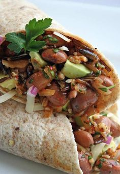 Pinto Bean, Quinoa, and Wild Rice Wrap Recipe - sub the dairy