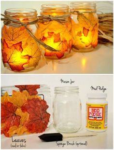 DIY Fall Decorating Ideas for the Home – Fall Leaf Mason Jar Candle Holder Mason Jar Candle Holders, Mason Jar Candles, Mason Jar Crafts, Mason Jar Diy, Diy Candles, Fall Candles, Fall Mason Jars, Votive Holder, Diy Candle Ideas