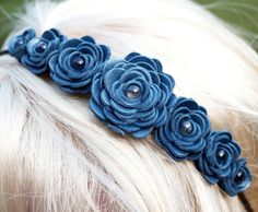 Blue flower headband leather roses on black by Leatherblossoms