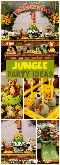 Here's a first birthday party with a jungle safari theme! See more party ideas at CatchMyParty.com!