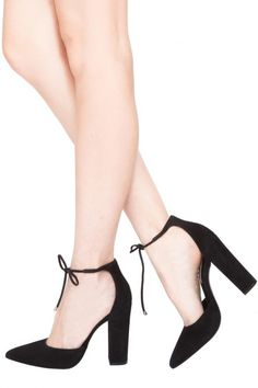 a8b52ec5b017 SWPAMPERD Ankle Tie Block Heel Pumps Block Heels