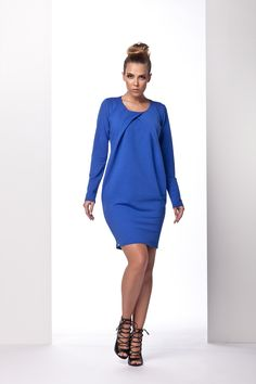 Rochii din bumbac -Rochie albastra de zi #rochieonline #prettymodaro #moda #cool