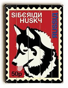 Siberian Husky Postage Stamp Wood Sign This Siberian Husky Postage Stamp wood sign by Artist Ginger Oliphant is sure to bring style to your space and a smile on your face. The sign is a hand distresse