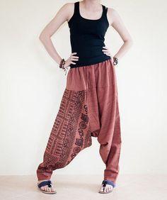 Om Ancient Hindu Script Pattern Harem Aladdin Unisex Textured Cotton Pants (Copper)