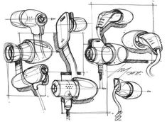 Earbud industrial design sketches by Spencer Nugent What Is Design, Id Design, Sketch Design, What Is Industrial Design, Industrial Design Sketch, Structural Drawing, Technical Drawing, Line Sketch, Sketch A Day
