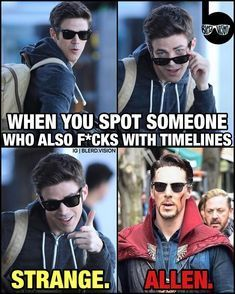 The Flash is one of the most popular CW TV DC comic superhero show. The people who watch the show might have known about the Flash and the timelines. Funny Marvel Memes, Marvel Jokes, Dc Memes, Marvel Dc Comics, Funny Memes, Dc Comics Funny, Marvel Vs, Dc Animated Series, Doctor Strange Memes