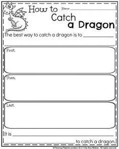Spring Writing Prompts - Informative Writing Organizer How to Catch a Dragon