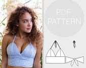 Womens halter neck bralet style cropped-top, with tie back f.-Womens halter neck bralet style cropped-top, with tie back fastening Crop Top Styles, Givenchy Couture, Elie Saab Couture, Pdf Sewing Patterns, Free Sewing, Clothing Patterns, Dress Sewing Patterns, Skirt Sewing, Skirt Patterns