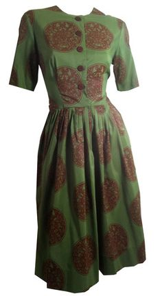 Asian Medallion Print Olive and Burgundy Dress circa 1960s L'Aiglon