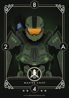 The Eminence Team wanted to pay homage to numerous gaming legends who all played a key part in our lives growing up. It's important to note that these cards will not appear in Eminence: Xander's Tales but were created merely as fan art. All the characte& Master Chief And Cortana, Halo Master Chief, Halo Game, Halo 5, Metroid Samus, Samus Aran, Halo Reach, Halo Spartan, Halo Series