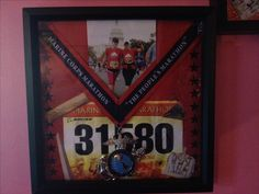 Making shadow boxes for your race medals is a fun way to display them! #running   This one is from the marine corps marathon 2012.