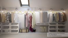 Adorable White Walk in wardrobe in Attic Level with Sloped Ceiling and Coat Hanger and White Shelves - Use J/K to navigate to previous and next images Attic Bedroom Closets, Attic Wardrobe, Attic Closet, Built In Wardrobe, Walk In Wardrobe Design, Wardrobe Interior Design, Ideas Prácticas, Loft Room, White Shelves