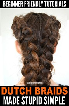 Hottest Photo Dutch braids, sometimes called a reverse French braid, are lovely aren't they? Concepts Dutch braids, sometimes called a reverse French braid, are lovely aren't they? Hairstyles based o Reverse French Braids, Easy French Braid, Reverse Braid, Dutch Pigtail Braids, French Braid Pigtails, Braiding Your Own Hair, Braids For Long Hair, Braid Headband Tutorial, Braids Tutorial Easy
