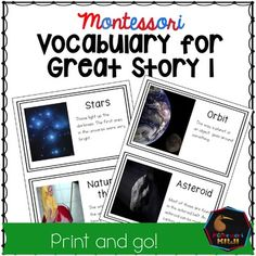 Montessori Elementary Great Story or Great Lesson Material for the Creation story, The coming of the Universe Included are 20 terms children may hear during the story. As the great stories are so rich sometimes children may not hear all of the key vocabulary we wish them to hear.
