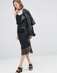 Image 1 ofASOS Denim Slip Skirt With Lace Hem in Washed Black