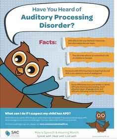 PDF: SAC Auditory processing disorder poster  Learn to recognize the signs of auditory processing disorder and who to contact for help.