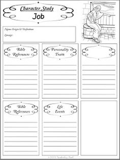 Free Old Testament Character Study notebooking printables (for a few years from now)