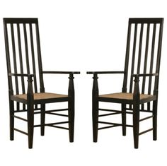 Game Table: Pair of Anglo-Indian Ebony Straight Back Chairs   1stdibs.com