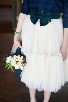 Photography : Charlotte Jenks Lewis Photography   Bridesmaids Dresses : Shirt- The Gap, Skirt- Custom Modern Trousseau Read More on SMP: http://www.stylemepretty.com/2014/03/17/tartan-and-tulle-inspiration-shoot/