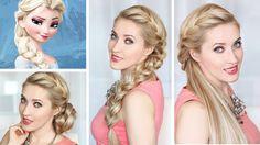Frozen Elsa's BRAID hair tutorial, BUN and HALF UPDO hairstyle